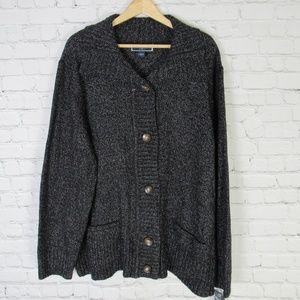 Karen Scott Sweater Cardigan Womens 1X Black White